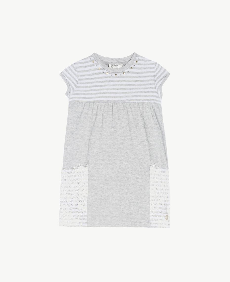 "Embroidered dress ""Papyrus"" White / Melange Grey / Chantilly Child FS82UA-01"