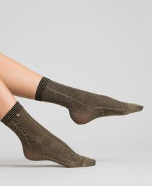 Lurex socks with logo Two-tone Black / Gold Woman 192TO5410-0S