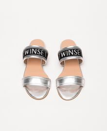 Laminated leather flat sandals with logo Laminated Silver Grey Woman 201TCP130-05