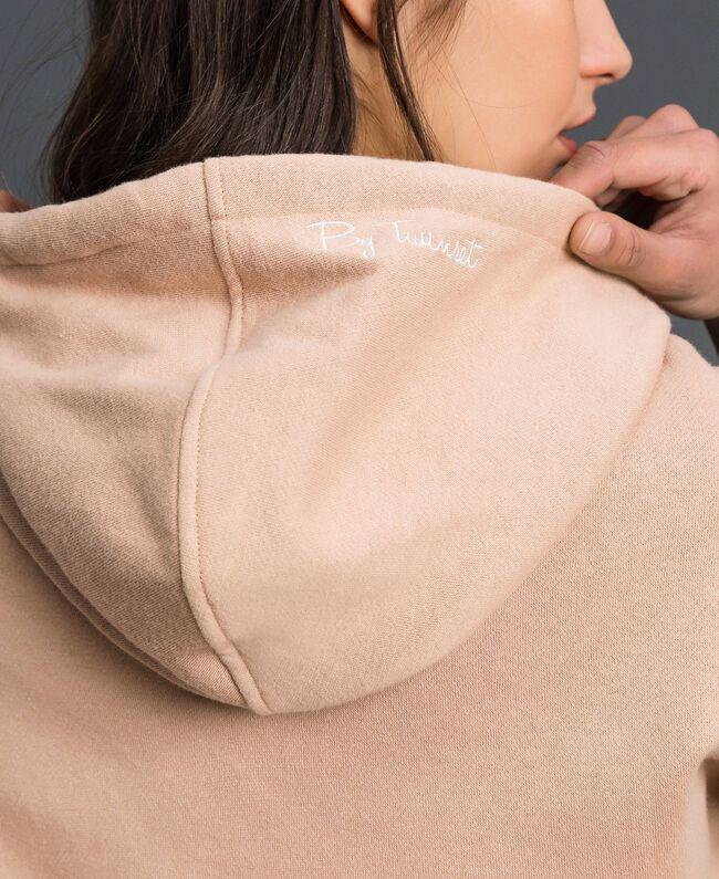 Sweat à capuche avec rayures lurex Beige Nude Femme 192LI2GAA-04