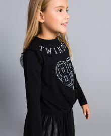 Jersey sweatshirt with pearls and tulle Black Child GA82U2-02
