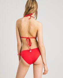 "Solid colour bikini bottom with drawstring ""Framboise"" Red Woman 191LMMR99-03"