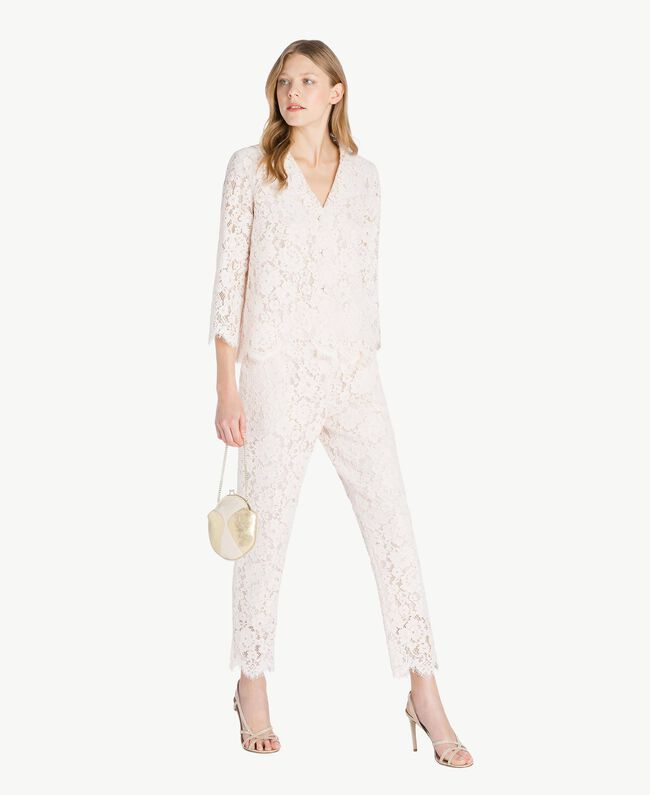 Lace drainpipe trousers Pale Ecru Woman PS82XG-05