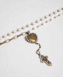 Sautoir avec chaînes, cœur et croix Laiton Usé Femme 192TO530C-02