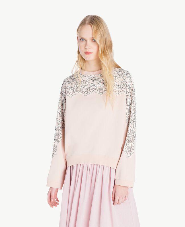 Sweatshirt aus Spitze Quarzrosa Frau JS82H1-04
