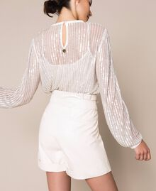 """Faux leather shorts with belt """"Silk"""" White Woman 201ST2115-03"""