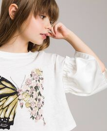 T-shirt en jersey avec volants en satin Off White Enfant 191GJ2402-04