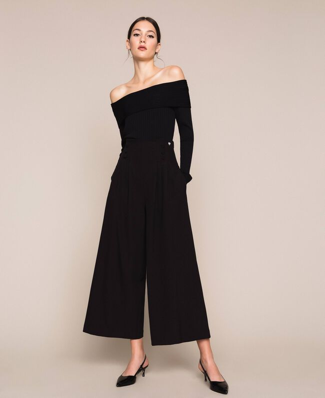 Crêpe de Chine high waist trousers Black Woman 201MP2110-01