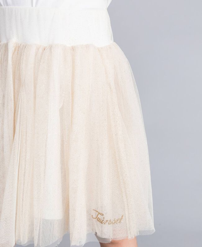 Gonna in tulle lurex Bicolor White / Lurex Oro Bambina GA82L2-04
