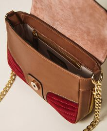 Suede and smooth leather small Rebel shoulder bag Multicolor Nude / Cherry Red / Leather Brown Woman 202TB7053-05