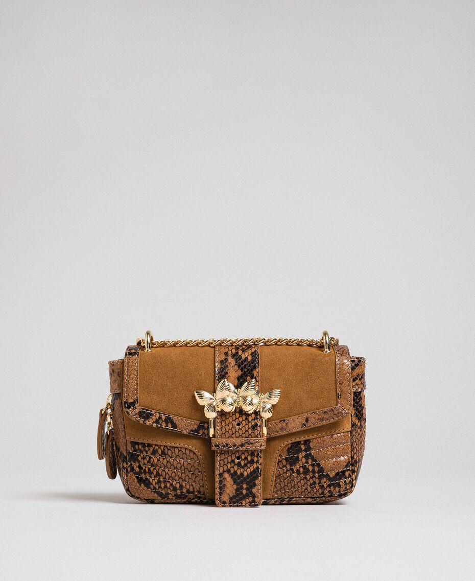 Petit sac Rebel à bandoulière en cuir et cuir velours Imprimé Python Brandy Femme 192TO8240-02