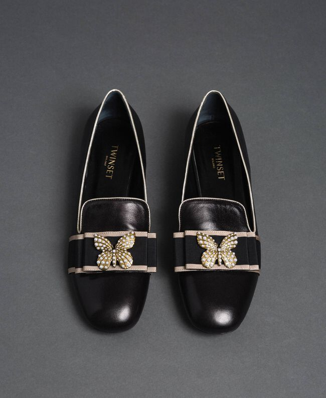 Leather loafers with embroidered band Black Woman 192TCP12G-04