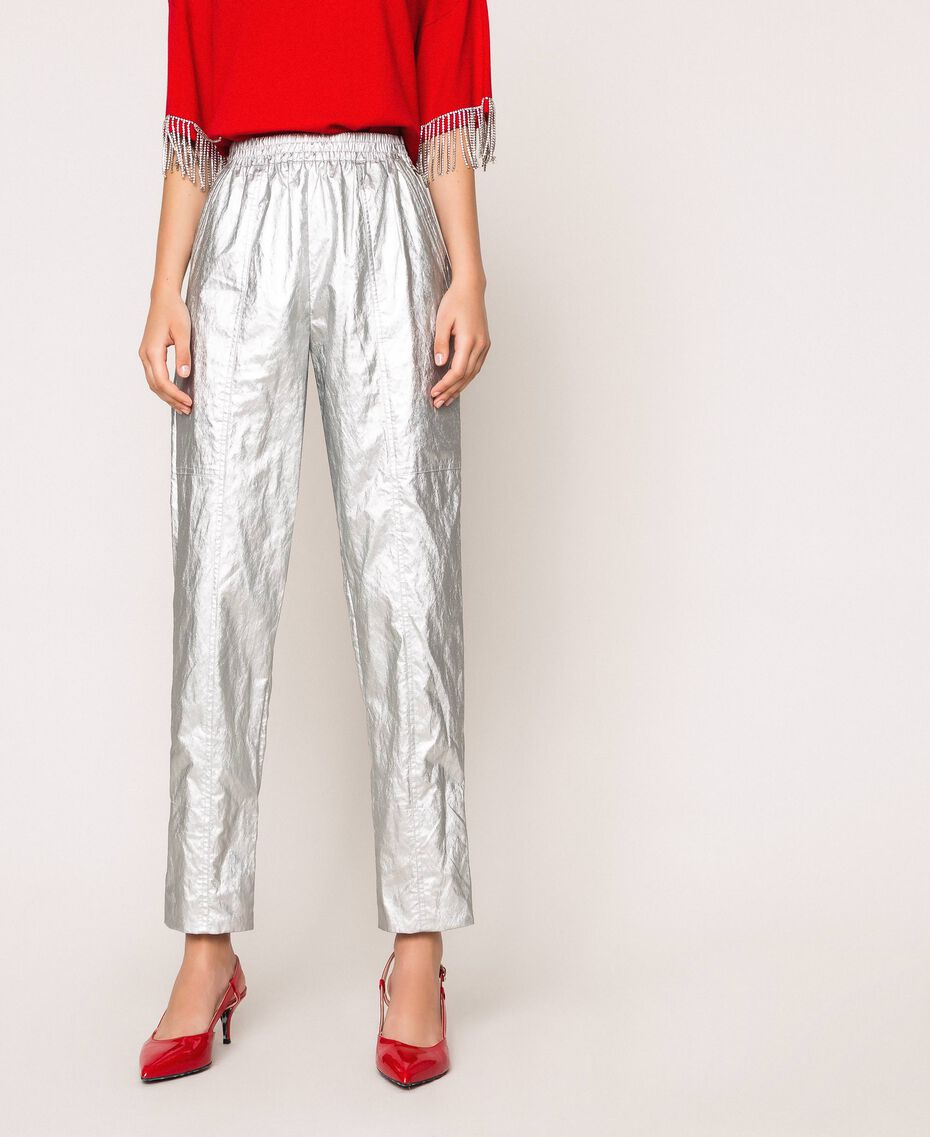 Laminated elasticated trousers Silver Woman 201TP2400-02