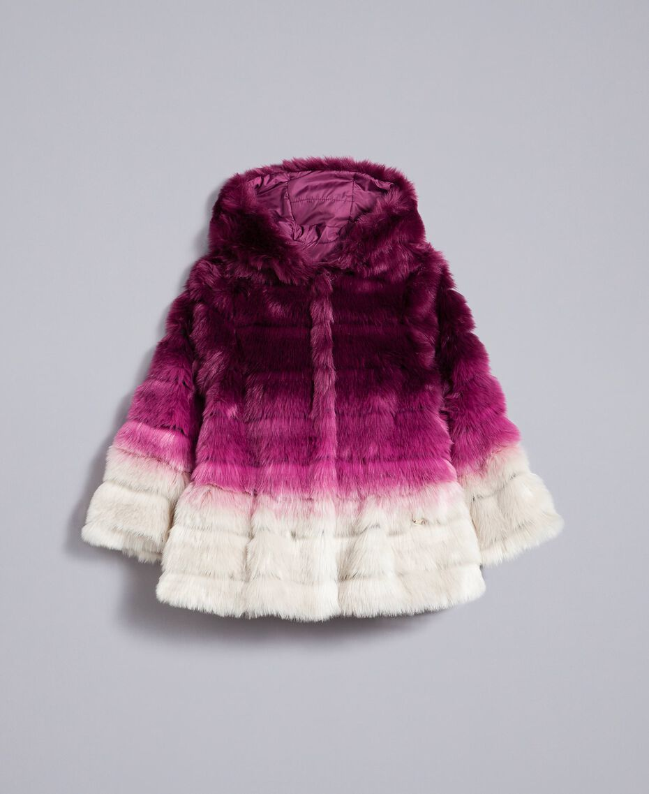 "Faux fur reversible jacket ""Grape"" Purple / ""Bougainvillea"" Pink Gradient Print Child GA82AR-01"