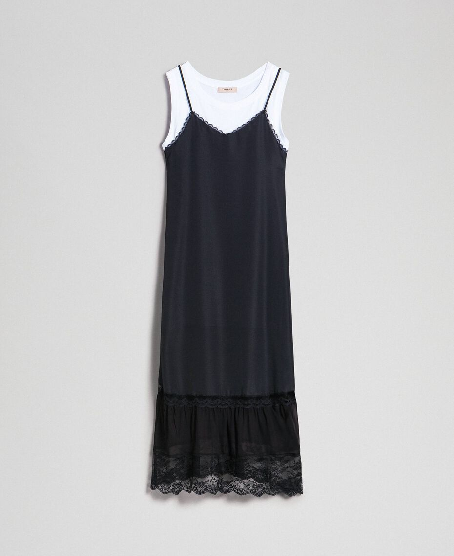 Long slip dress with lace and top Black Woman 192TP2572-0S