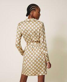 Hemdblusenkleid mit Kettenprint Kettenprint Elfenbein / Gold Frau 202TT2210-04