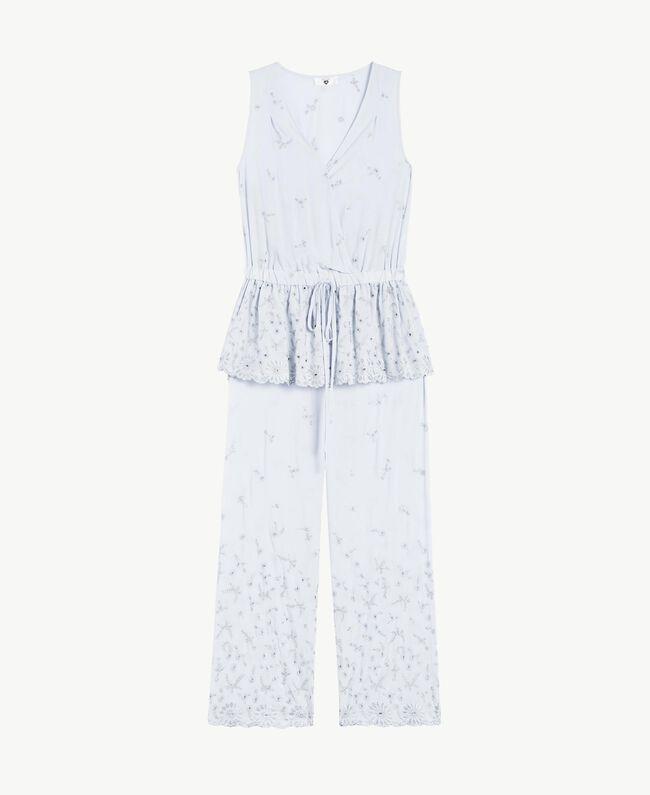 """Pyjama mit St. Galler Stickerei """"Fairy Blue""""-Azur Frau LS8GAA-01"""