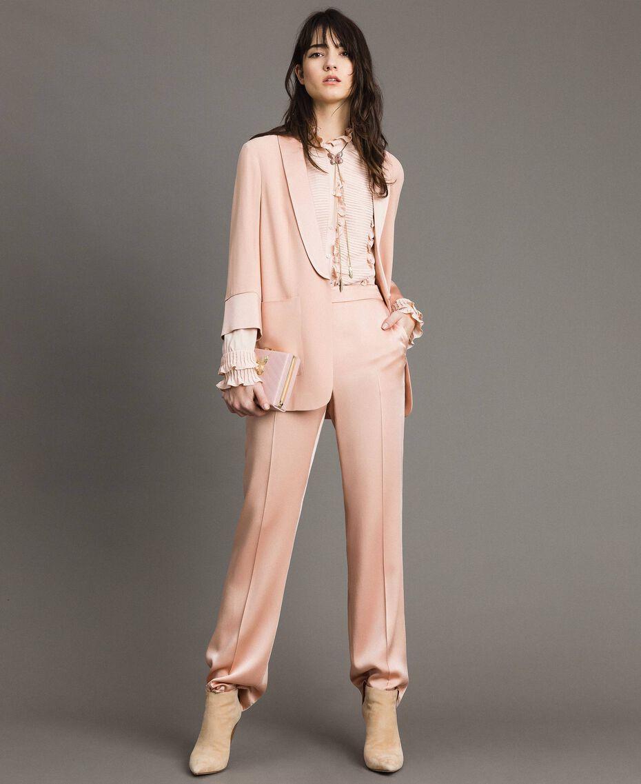 Matelassé leather clutch bag Pink Pearl Woman 191TA7196-0T