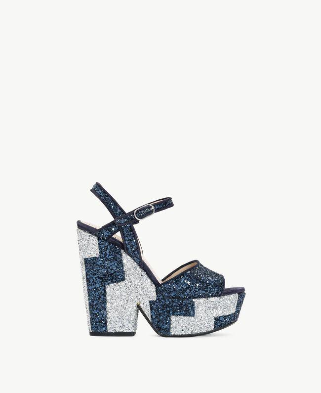 TWINSET Glitter sandals Two-tone Dark Blue / Glitter Silver Woman CS8PL1-01