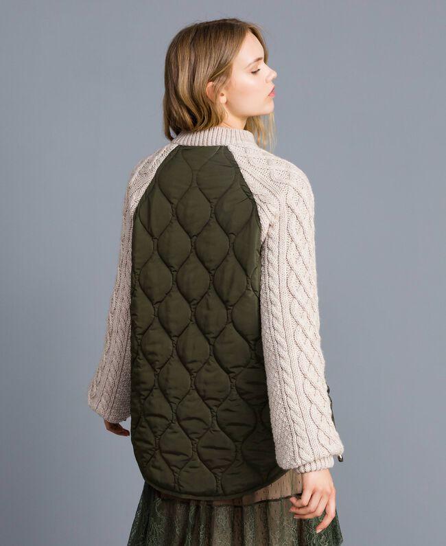 Blouson en faux mouton et nylon Bicolore Vert Forêt / Blanc Neige Femme TA82BP-03