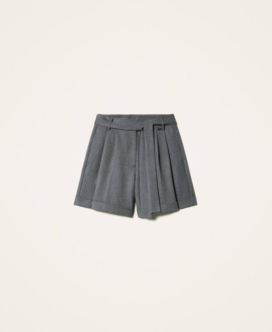 Shorts mit Gürtel und Aufschlag Durchschnittgrau-Mélange Frau 202ST2202-0S
