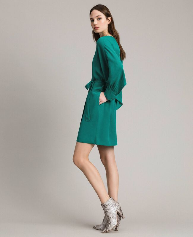 """Silk blend tunic dress """"Pepper Green"""" Woman 191TP2147-03"""