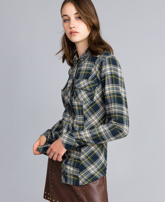 "Check flannel shirt Bicolour Blue / ""Golden Yellow"" Plaid Flannel Woman YA82ED-03"