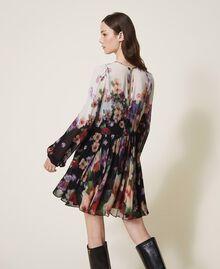 Платье из жоржета с цветочным принтом Принт Деграде Цветы Черный / Слоновая кость женщина 202TT2381-03