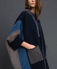 Cape en laine mélangée avec motifs jacquard Jacquard Chevrons Bleu Nuit Femme 192ST3030-05