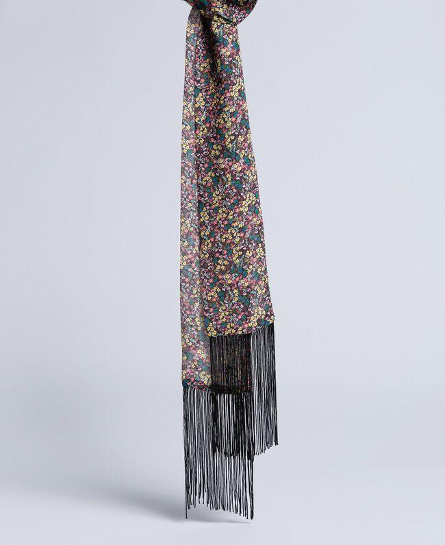 """Foulard aus Viskose mit Blumenprint Print """"Mikroblumen"""" mehrfarbig Frau AA8P16-01"""