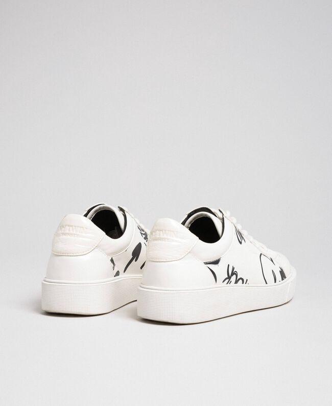 Sneakers aus bedrucktem Lederimitat Graffitiprint Optical Frau 192MCP07A-04