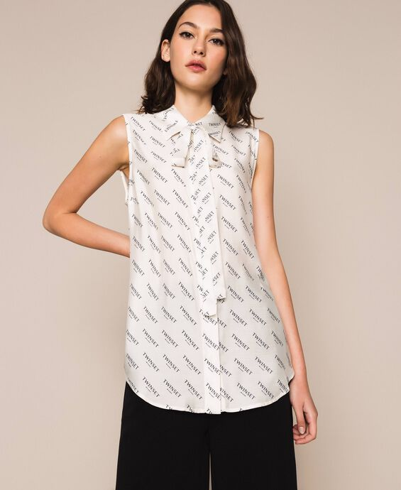 Silk blend top with all over logo