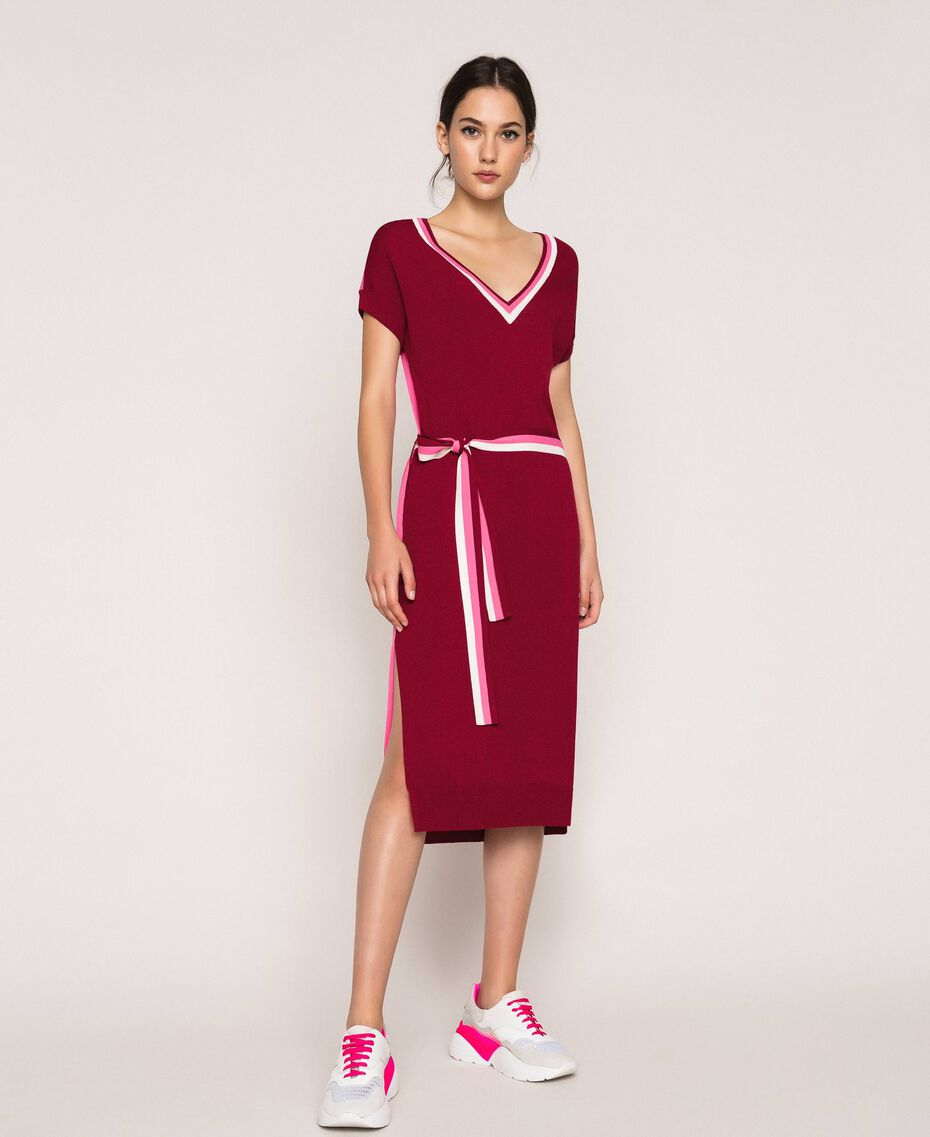 Vestido de punto bicolor con cinturón Bicolor Rojo «Púrpura» / Superpink Mujer 201ST3030-01