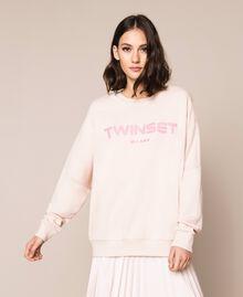 Длинная толстовка с рельефным логотипом Розовый Бутон женщина 201TP2083-04