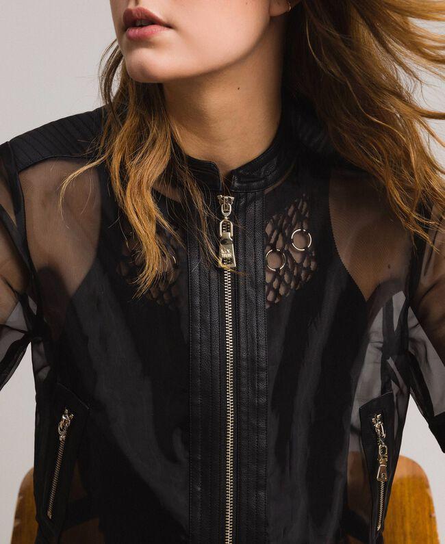 Veste en similicuir et organza Noir Femme 191MT2070-04
