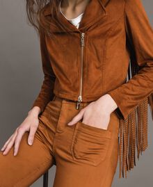 Faux leather biker jacket with fringes Leather Brown Woman 191LB2DBB-05