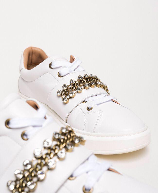 Sneakers aus Leder mit Chatons Weiß Frau 201TCP094-04