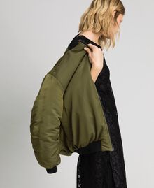 Reversible bomber jacket in technical satin Green Vetiver Woman 192MP2070-04