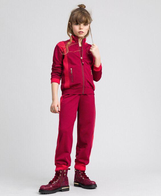 Felpa color block con zip e pantaloni jogging