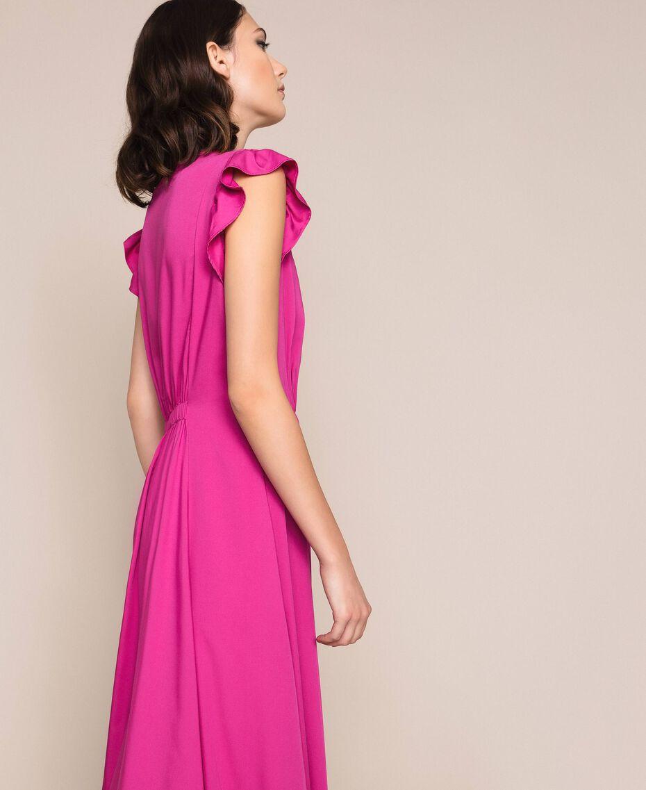 Poplin dress with ruffles Flirty Rose Print Woman 201LB2BDD-02