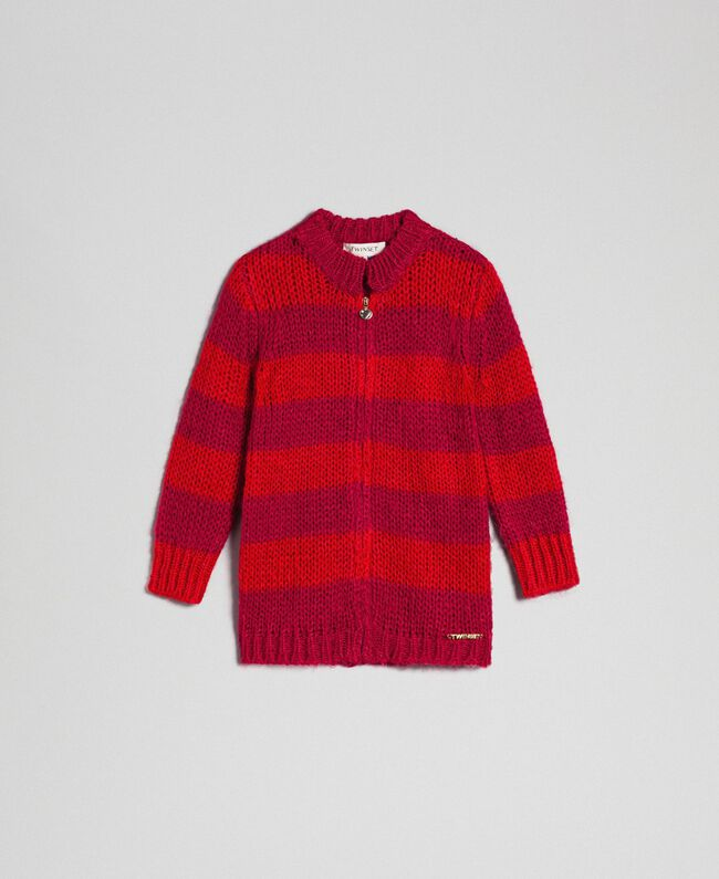 Cardigan in mohair a righe bicolore Jacquard Righe Ruby Wine / Rosso Bambina 192GB3130-01