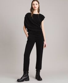 Pantaloni jogging in lurex Nero Donna 191MP2026-0T
