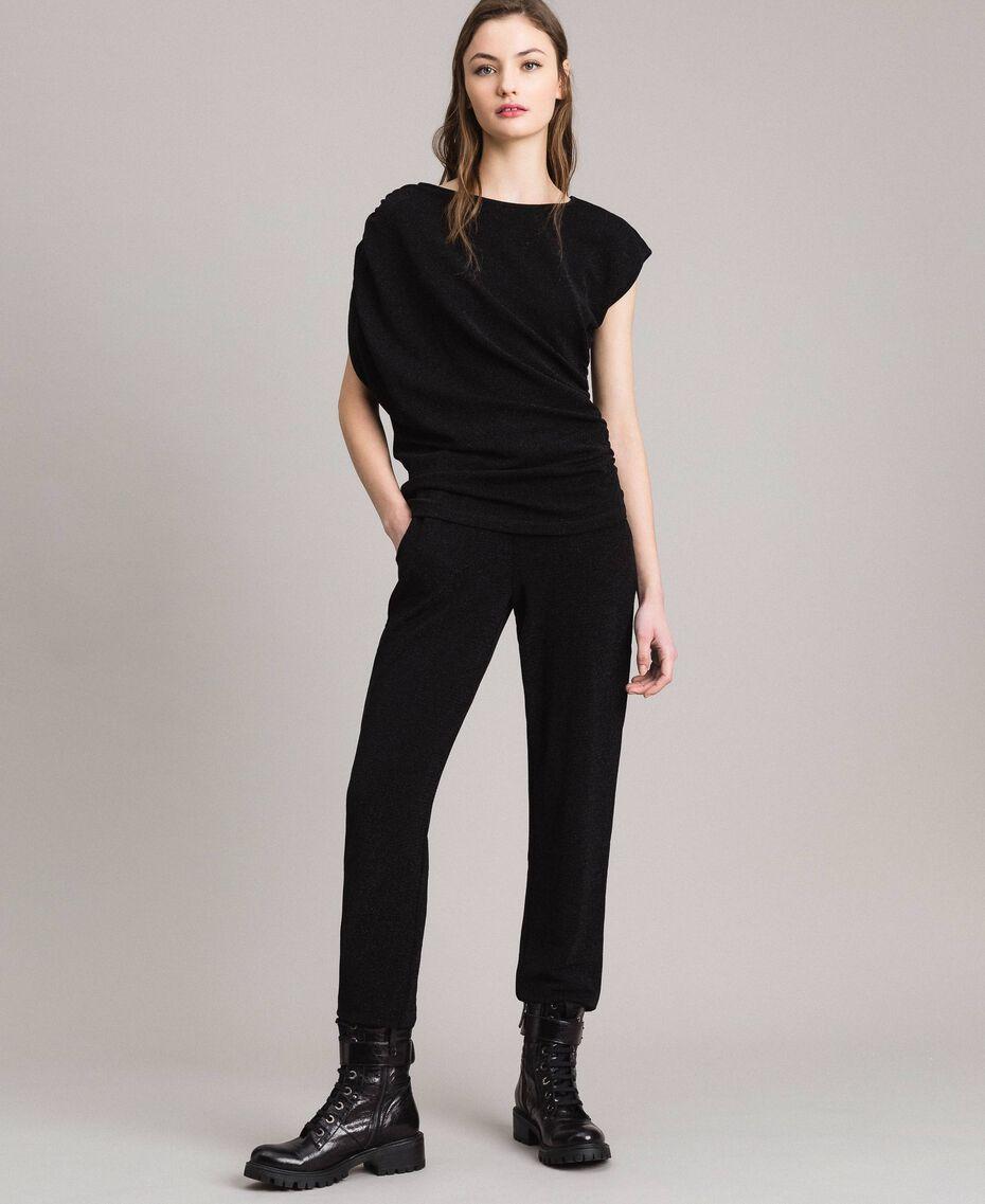 Jersey lurex jogging trousers Black Woman 191MP2026-0T