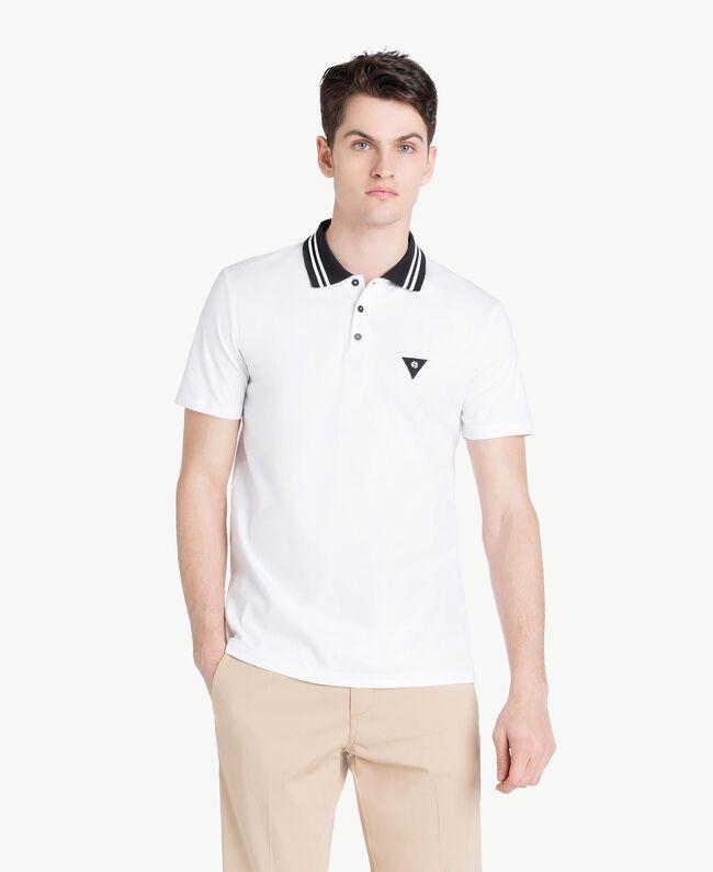 Poloshirt aus Jersey Mattweiß Mann US8221-01