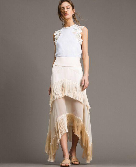 Long satin skirt with flounces and fringes
