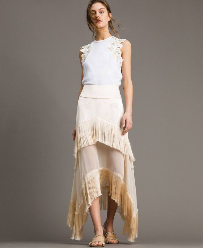"Long satin skirt with flounces and fringes ""Milkway"" Beige Woman 191LM2BCC-01"