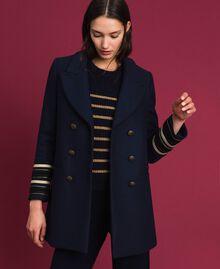 Manteau croisé en drap Midnight Bleu Femme 192TT2161-01
