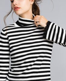 Striped cashmere blend mock neck jumper Black / Mother-of-pearl White Stripe Woman SA83FN-01
