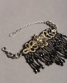 Bracelet with flower and beaded fringes Black Woman 191TO534E-02
