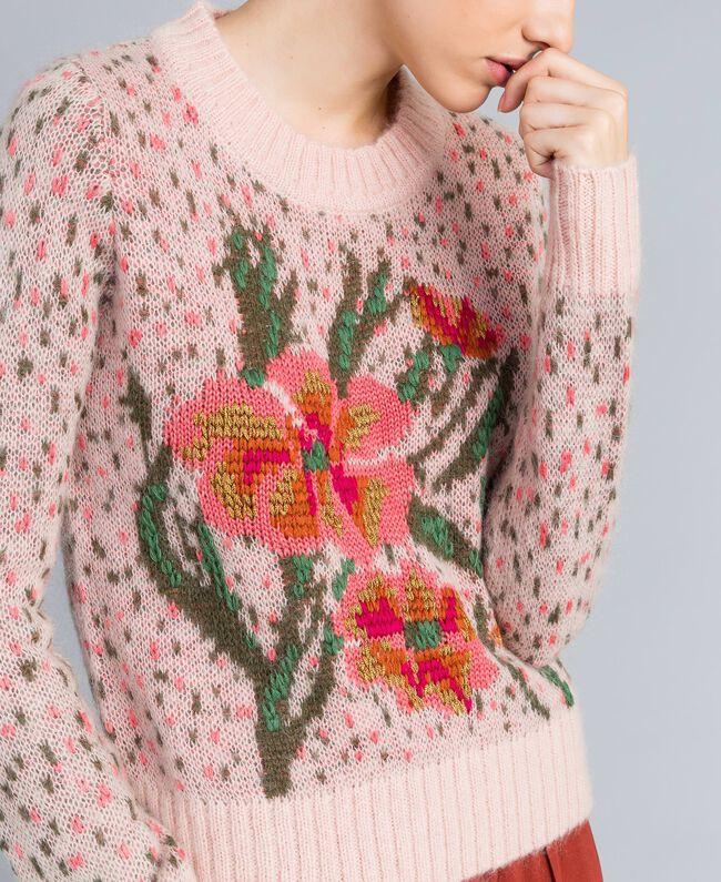Pull jacquard floral et pois Jacquard Fleurs Rose Pâle Femme TA83CC-04